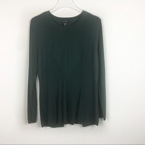 H by Halston | Green Knit crew neck sweater Large
